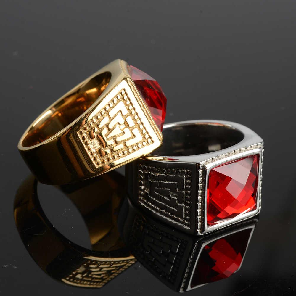 Décontracté hommes anneau rouge grand CZ pierre haut carré véritable acier inoxydable couleur or quotidien mâle Alliance bijoux taille pas se faner dans l'eau