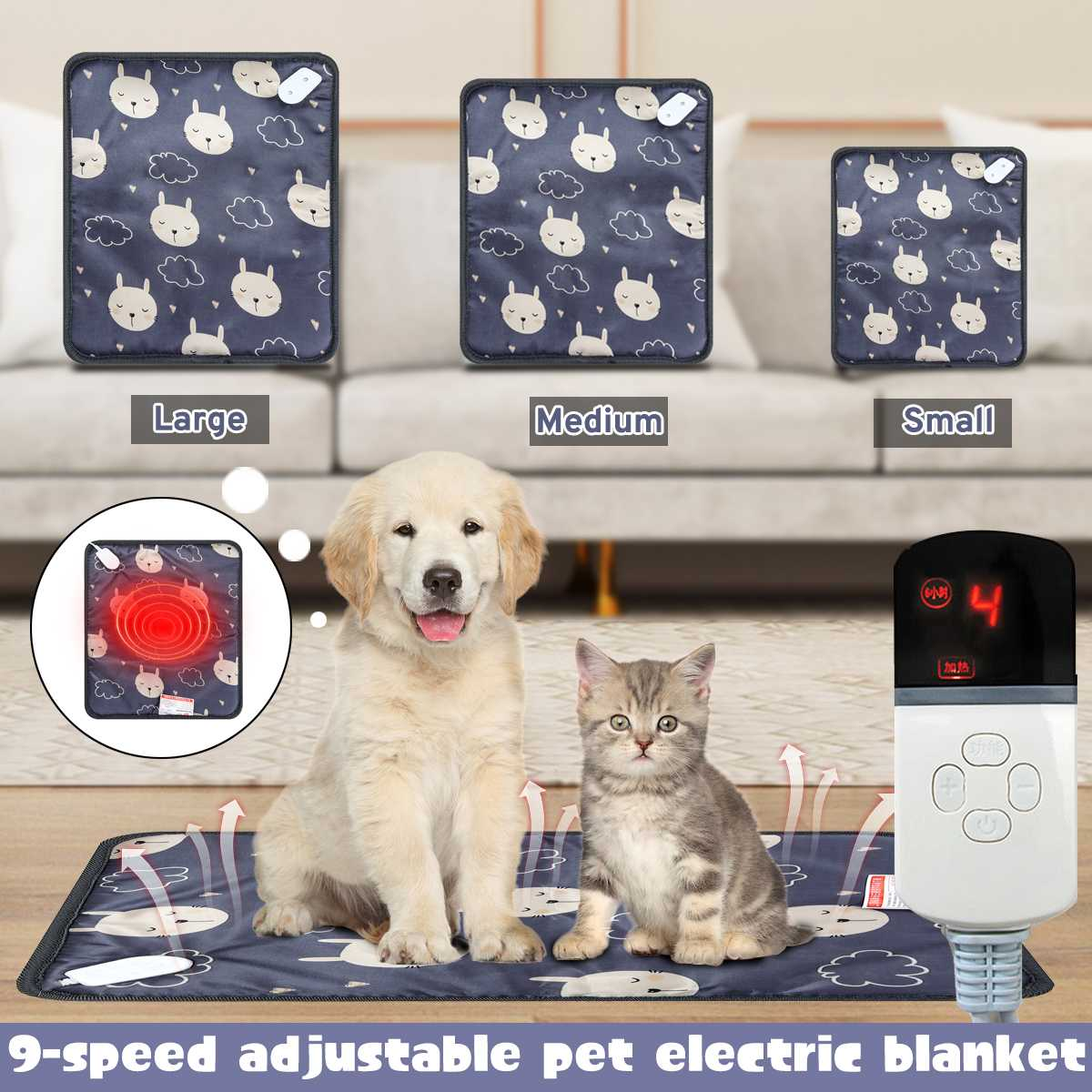 Electric Pet Heating Mat 20W 220V 9 Gear Position Waterproof Heating Pet Bed Warm Soft Bedding Cushion Mat Pet Pad For Cat Dog