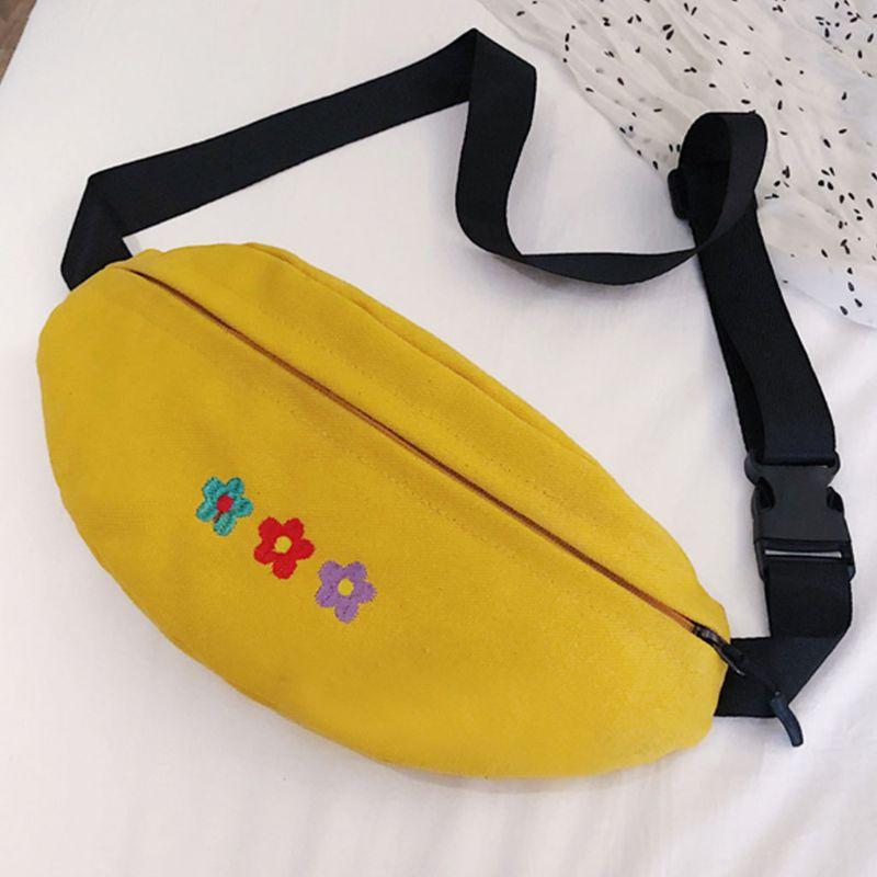 Women's Waist Fanny Pack Flower Embroidery Belt Chest Purse Shoulder Bag Hip Bum Purse Phone Pouch C90E