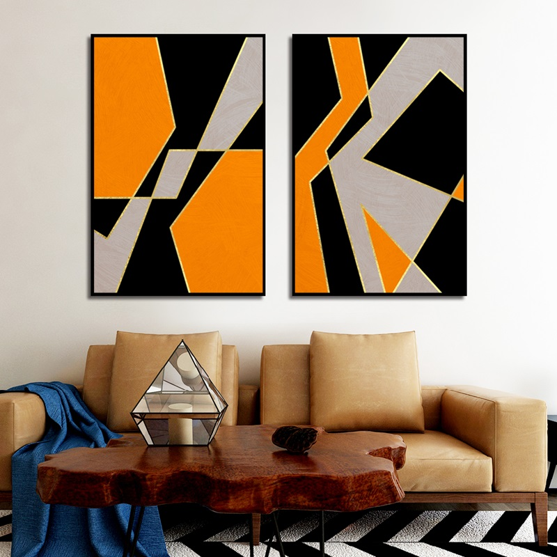 Modern Fashion Black Grey Orange Combination Color Block Poster Living Room Home Wall Art Print Canvas Painting Picture Decor Painting Calligraphy Aliexpress