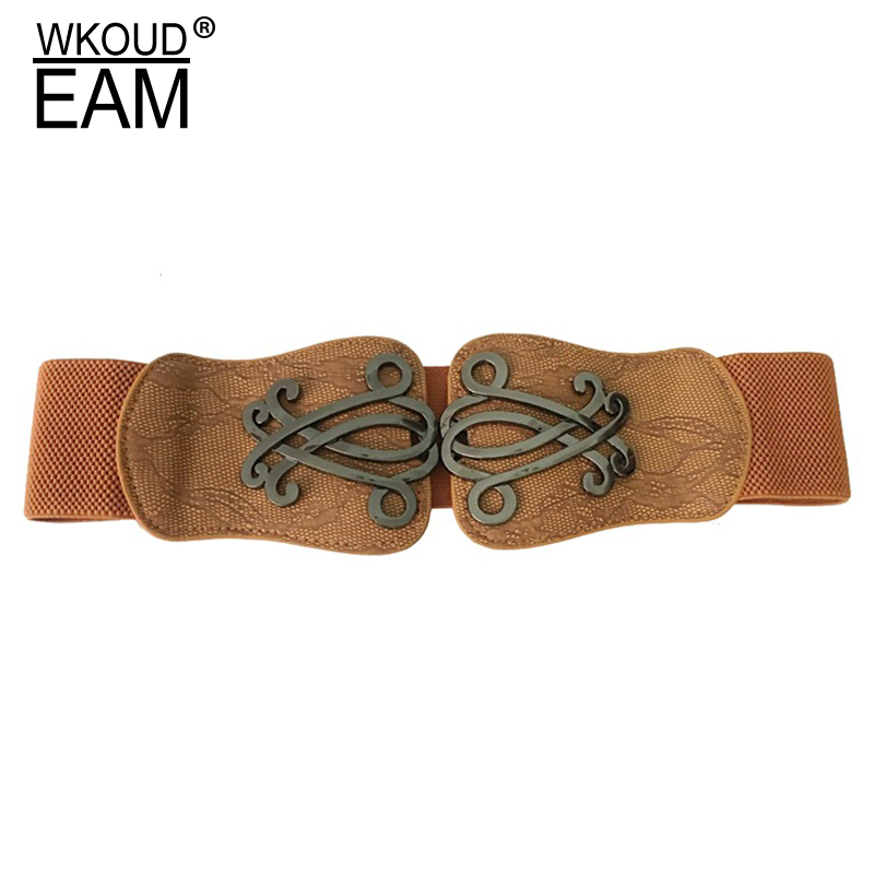 WKOUD EAM 2020 New Fashion Wid Belt For Women Metal Ring Elastic Band Elastic Girdle High Street Casual Trendy Female Tide A113