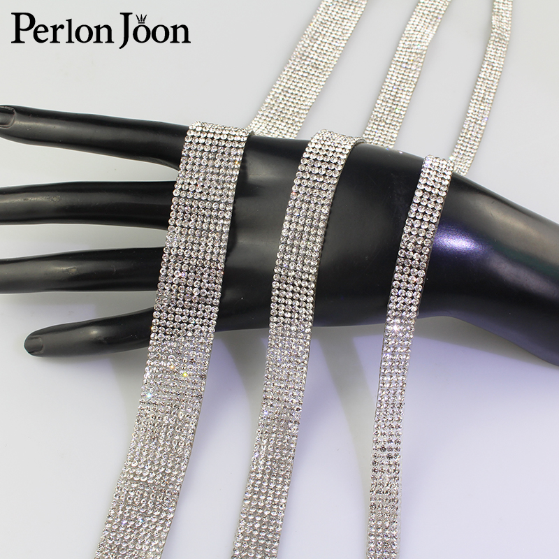 1 yard Arranged Motif white crystal Hot Fix Rhinestone Tape trim ribbon Iron On Appliques for Dress shoe adornment TR001
