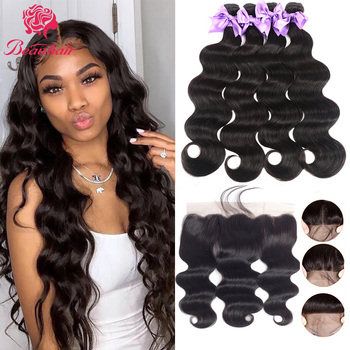 Peruvian Human Hair Waves Body Wave Bundles With Lace Frontal Bleach Knot 13x4 Lace Frontal Human Hair Extensation Remy Beauhair image