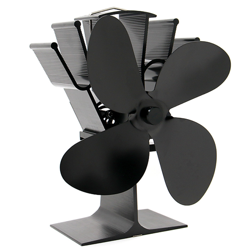 Black Small Stove Fan 4 Fireplace Wood Stove Fan for Gas/Pellet/Wood/Log Burning Stoves Fan +Thermometer