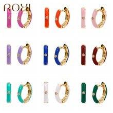 ROXI Ins 9 renkler renkli küçük Hoop küpe kadınlar için güzel takı kıkırdak küpe sıradışı 925 ayar gümüş Pendientes