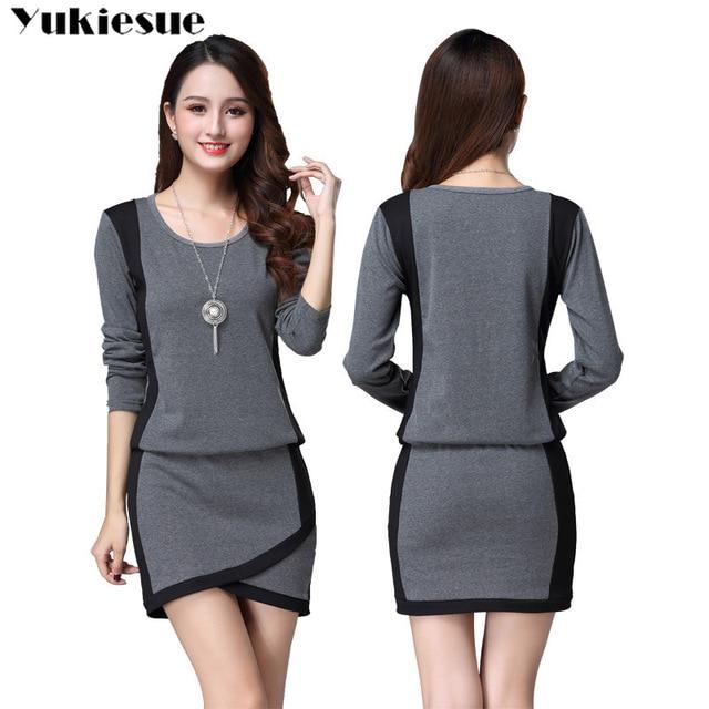 winter office OL dresses for women skinny women's dress long sleeve black maxi party long sexy bodycon dress female Plus size 1