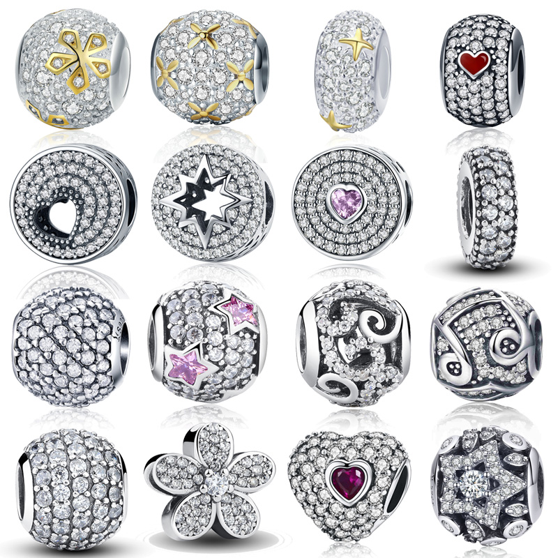 100% Authentic 925 Sterling Silver Dazzling Clear CZ Charm Beads Fit pandoras Charm Bracelet Pendants DIY Original Jewelry Gift(China)