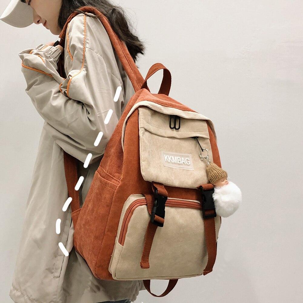 Buckle Cute Stripe Backpack Corduroy Women School Bag Teenage Girl Harajuku Backpack Kawaii Female Fashion Bag Ladies Luxury New