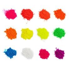50g/bag Neon Pigment Powder Luminous Ultraviolet-light Phosphor 12-Colors Fluorescent Glitter For Painting.