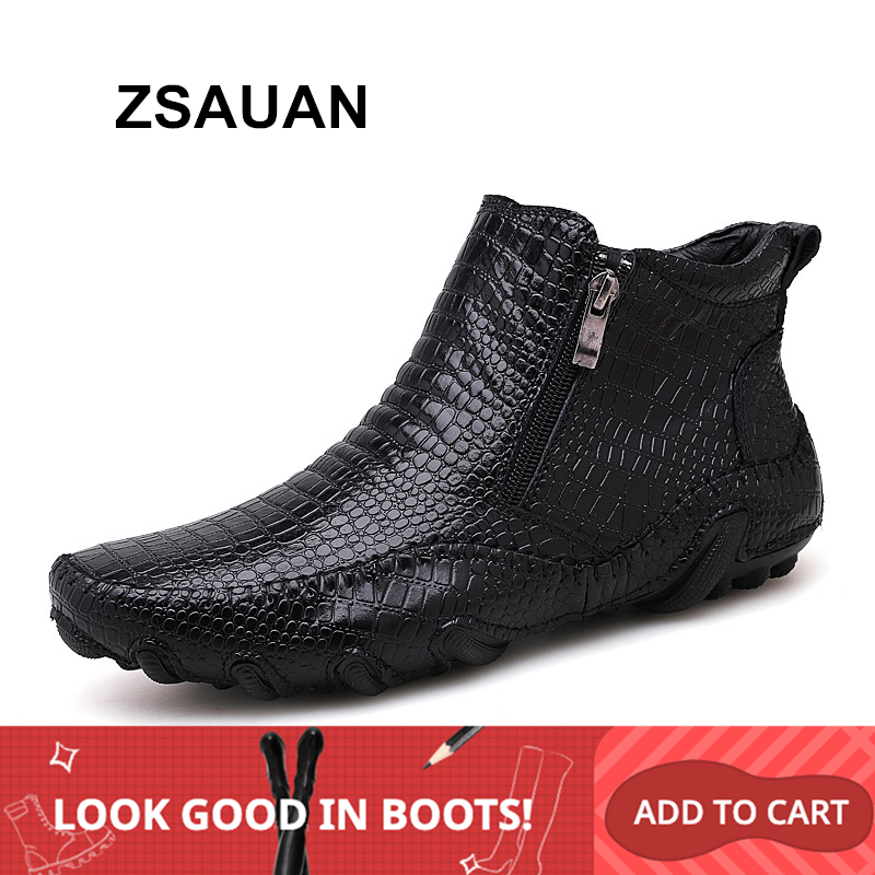 ZSAUAN Brand Drop Shipping Mens Boots Crocodile Pattern Casual Men Leather Ankle Boots Soft Waterproof Winter Warm Zip Boots
