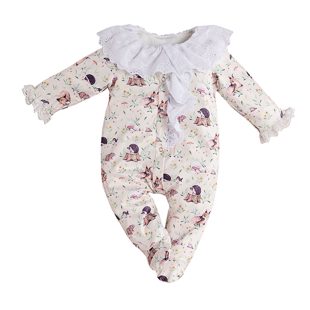 Cartoon Animal Long Sleeve Ruffle Collar Newborn Baby Girl Rompers Infant Clothes Romper One Piece