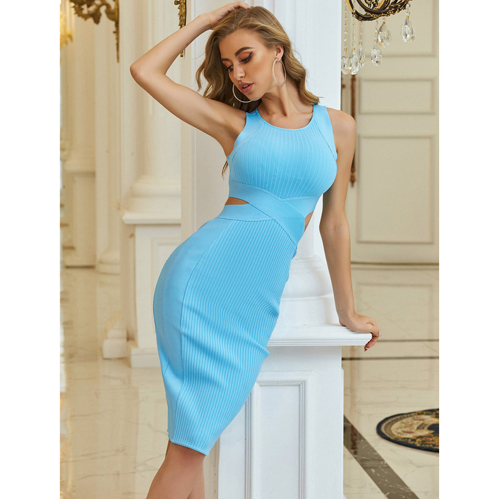 New Chic Women Fashion Sexy Hollow Out Sky Blue Midi Bodycon Bandage Dress 2021 Designer Elegant Evening Party Dress Vestido