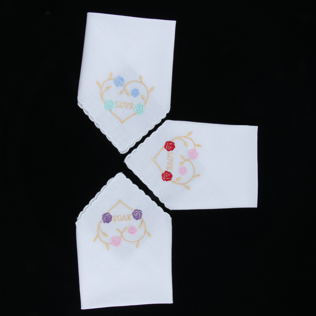 3 Pack Womens Vintage Floral Embroidered Cotton Handkerchiefs Bulk