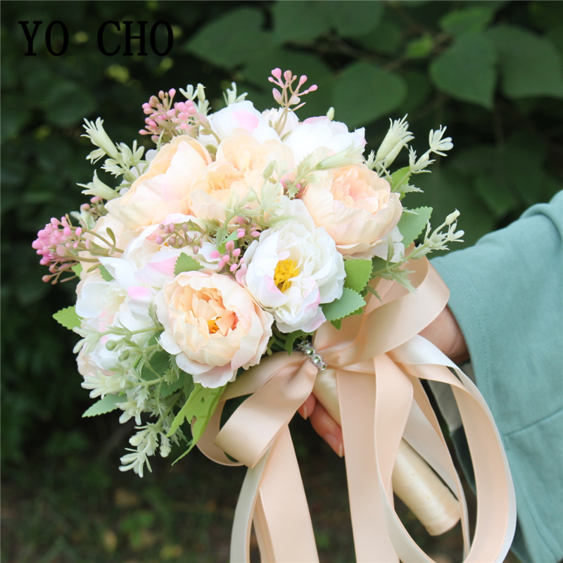 YO CHO Wedding Bouquet Artificial Silk Peony 18 Heads Peony White Pink Handmade Wedding Flowers Bouquet Bride Marriage Supplies