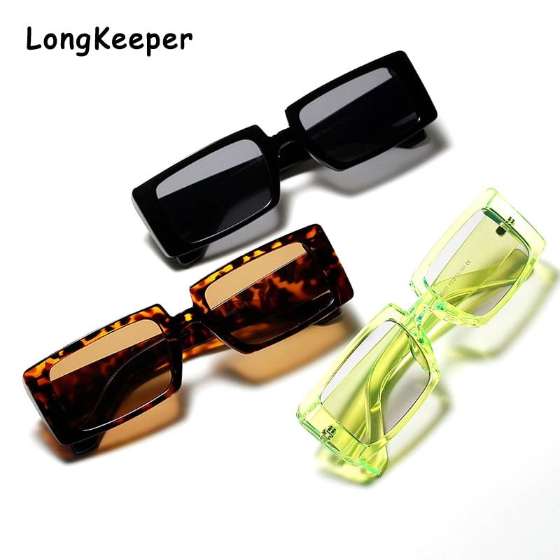 Clear Green Narrow Rectangle Sunglasses Shades Women Brand Designer Men Vintage Rectangular Frame 90s Trendy 2020 Sun Glasses