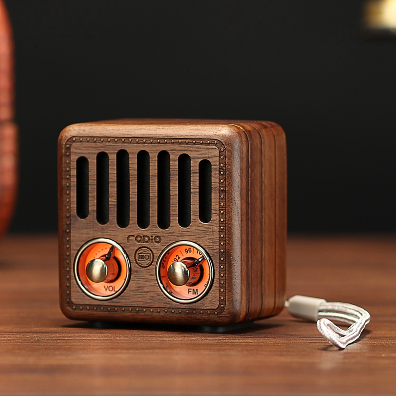FFYY Portable Vintage Radio Retro Wooden Bluetooth Speaker Strong Bass Enhancement Mini Speaker Support FM TF Card AUX Audio MP3|Portable Speakers| |  -