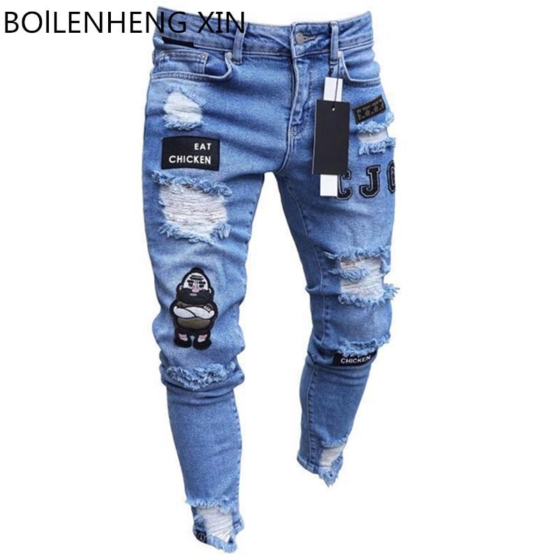 Männer Gebrochen Loch Bestickte Bleistift jeans Dünne Männer Hosen Beiläufige Dünne Denim Hosen Klassische Cowboys Junge Mann Jogging Hosen