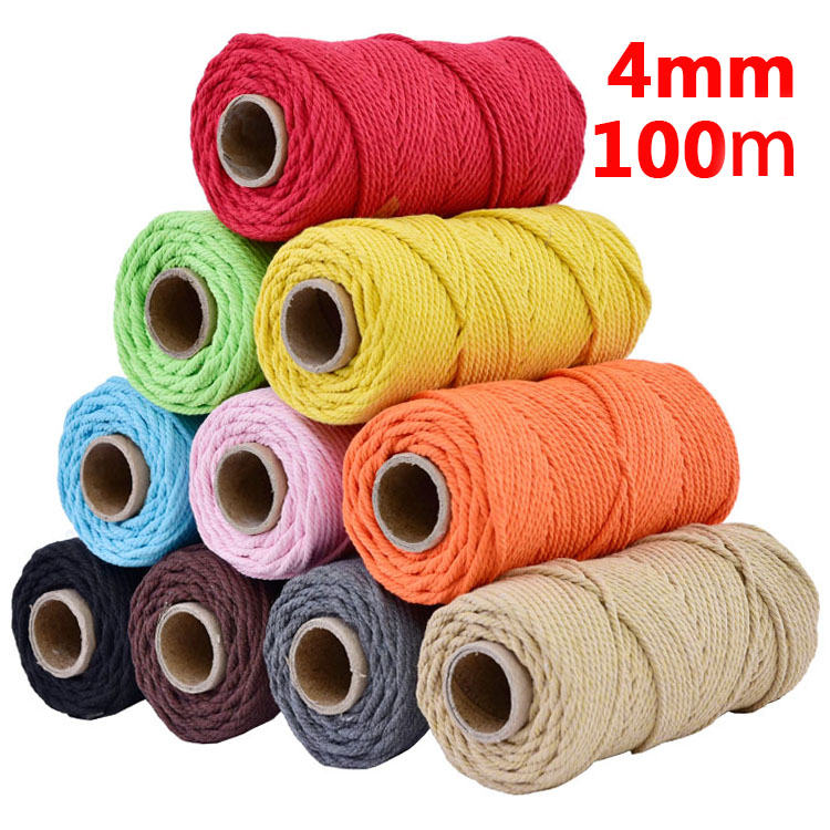 4mmx110yards 100% Cotton Cord Colorful Rope Beige Twisted Craft Macrame String DIY Wedding Home Textile Decorative supply-in Cords from Home & Garden