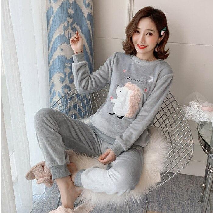 Autumn & Winter Flannel Pajamas Women's Winter Coral Fleece Pajamas Set Long Sleeve Pajamas Women Tracksuit Hedgehog Set
