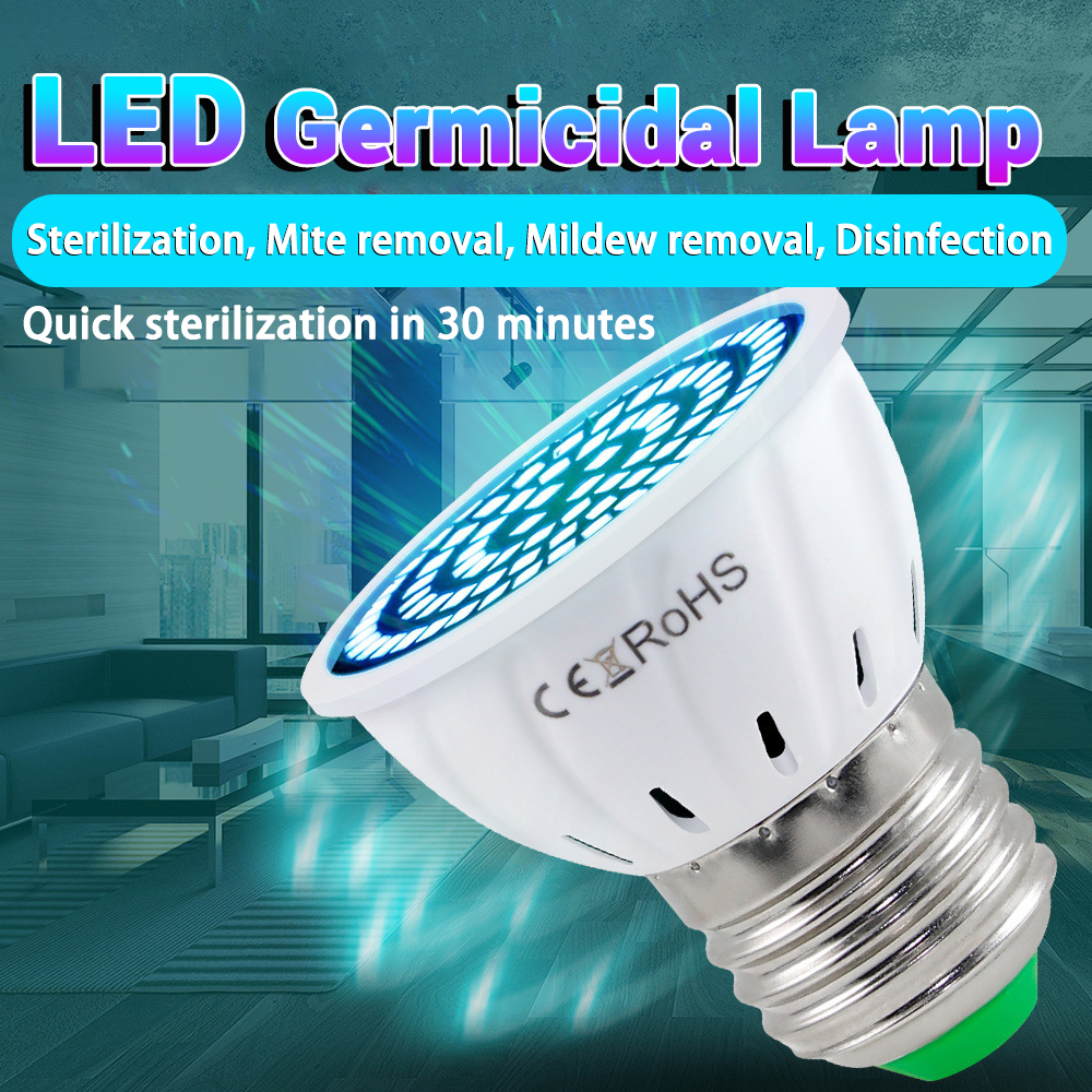 E14 UV Desinfection Lamp E27 LED Sterilizer Light MR16 LED UVC Germicidal Bulb GU10 Ultraviolet Lamp B22 48 60 80leds Amuchina
