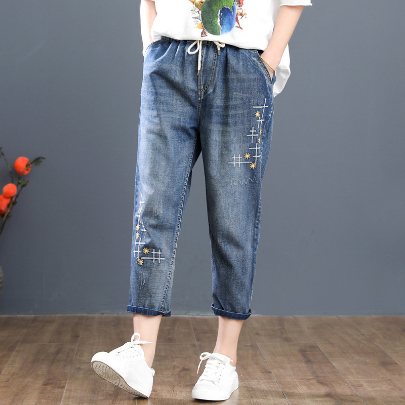 Women Denim Pants Capris Plus Size Elastic Waist Floral Embroidered Jeans Femme Vintage Loose Harem Trousers