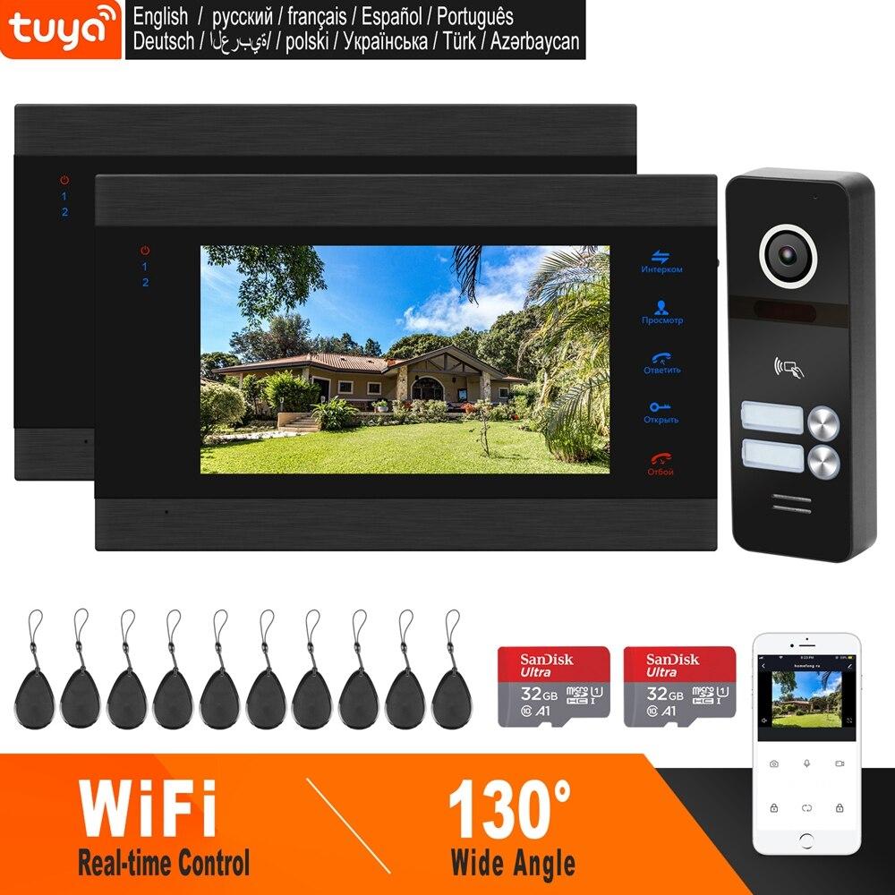 HomeFong, Wi Fi, видеодомофон для 2 квартиры, беспроводной дверной домофон, смартфон, приложение TUYA, управление в реальном времени, Поддержка обнар