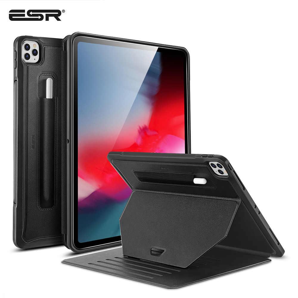 Esr capa para ipad pro 11 12.9 2020, com suporte para caneta, 9 posições, capa traseira estável capa 12.9 polegadas para ipad pro