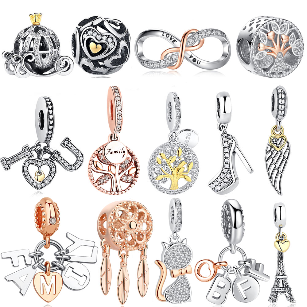 DIY Silver Charm Fit Original Pandora Bracelet Bead 925 Sterling Silver Love Dangle Charm Crystal Heart ,Flower,Tower,Tree Bead(China)