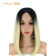 Kalyss Synthetic Lace Front Wigs Ombre 613 Blonde Bob Wigs S