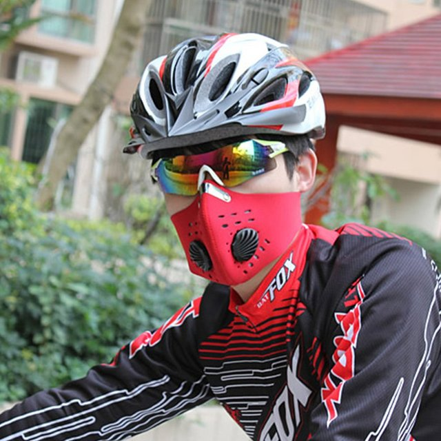 HOT Anti-fog pm2.5 Breathable Cycling Face Mask Sport Training Anti-Pollution Running Mask With Activated Carbon Filter 4