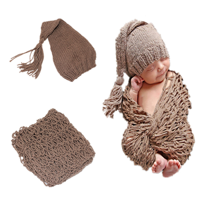 2pcs Knitted Baby Swaddle Wrap Blankets Stretch Knit Cotton Wrap Set Newborn Photography Props Hat Soft Baby Swaddle Blankets