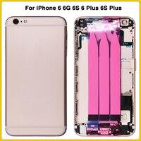 Pełna obudowa dla iPhone 6 6G 6S 6 Plus 6S Plus tylna pokrywa baterii pokrywa drzwi baterii wewnętrzna ramka obudowa z kablem Flex w Obudowy do telefonów komórkowych od Telefony komórkowe i telekomunikacja na