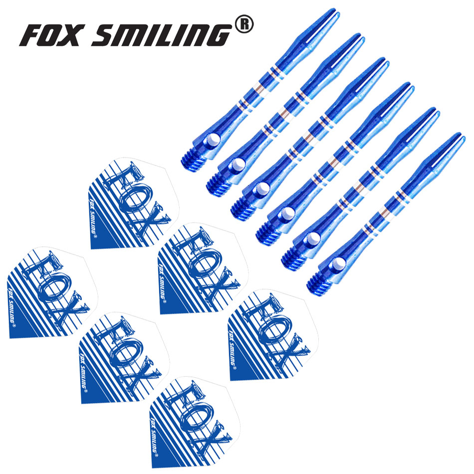 Fox Smiling 41mm Aluminium Dart Shafts And Darts Flights Set Feather Leaves Dart Accessories Set