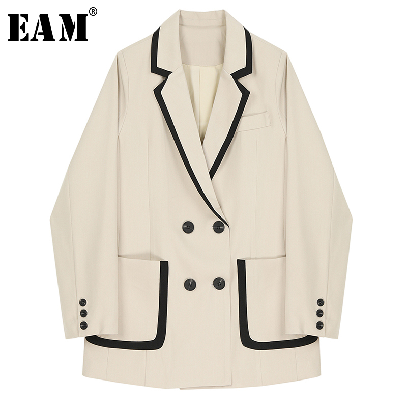 [EAM]  Women Double Breasted Pocket Split Blazer New Lapel Long Sleeve Loose Fit  Jacket Fashion Tide Spring Autumn 2020 1R693