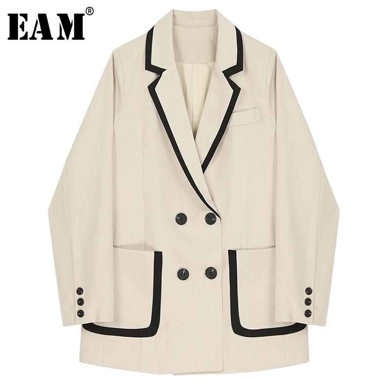 [EAM]  Women Double Breasted Pocket Split Blazer New Lapel Long Sleeve Loose Fit  Jacket Fashion Tide Spring Autumn 2020 1R693
