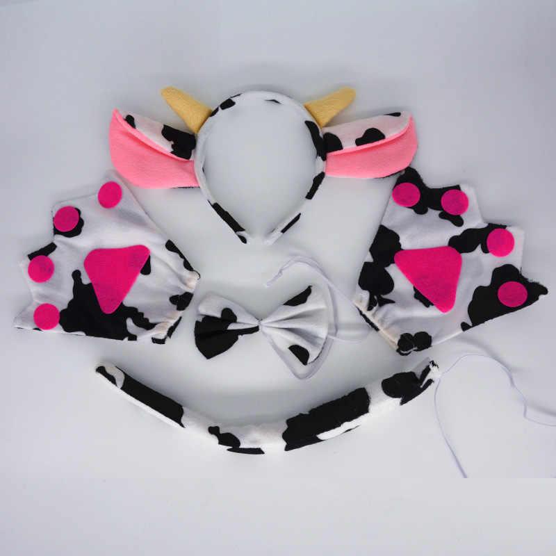 Sữa Bò Sừng Tai Đầu Trẻ Em Người Lớn Động Vật Hóa Tóc Sinh Nhật Ủng Hộ Đạo Cụ Halloween Carnival Lễ Hội Quà Tặng