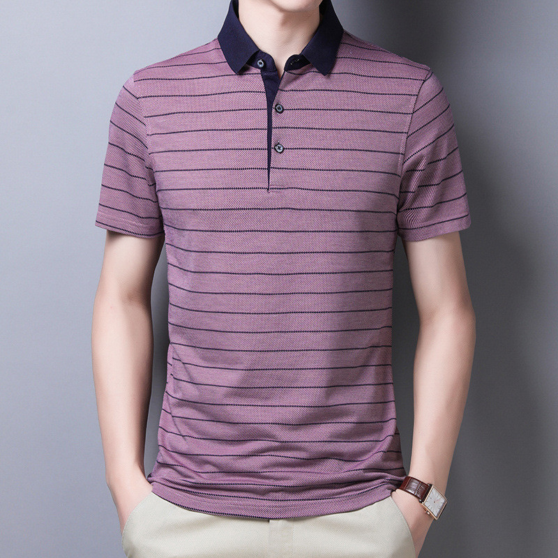 Ymwmhu Men Striped Polo Shirt Cotton Short Sleeve Man Shirts High Quality Summer Office Clothes Casual Polo Shirt Men Tops