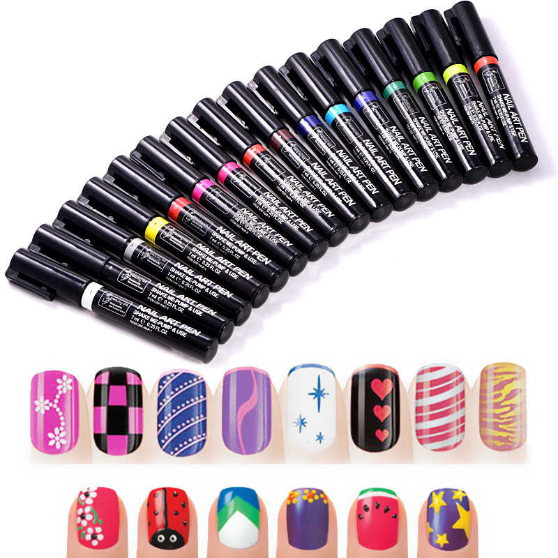 1pc 3D Nail Art Drawing Pen Spot Fower Coloured Drawing Pen Nail Polish Pen For DIY Nail Art Decoration H1018