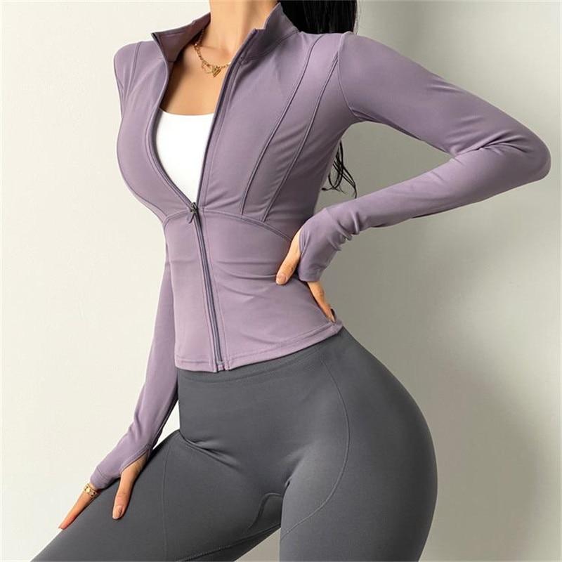 Zipper Design Long Sleeve Yoga Shirts Women Sexy Gym Workout Running Jacket Training Outfits Fitness Coat Sport9s