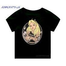 Meninas harajuku europa pop tatuagem princesa preto camiseta verão manga curta bebê menina topos da criança t roupas dos miúdos, dhkp305