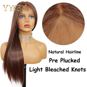 YYsoo Long 13X6 Synthetic Lace Front Wigs With Baby Hair Futura Glueless Long Silky Straight Blonde Wig Mixed #4Highlights#30