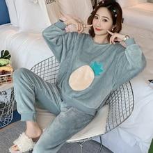 Женская зимняя Пижама, фланелевая теплая Рождественская Пижама, Женская Толстая Домашняя одежда, пижама с животными, женский коралловый бархатный пижамный комплект