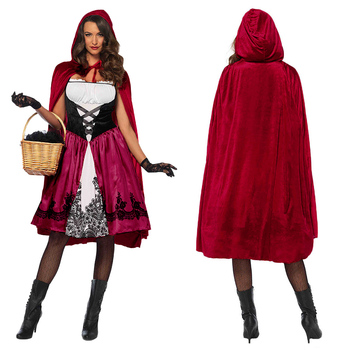 Little Red Riding Hood Costume for Women Fancy Adult Halloween Cosplay Fantasia Carnival Fairy Girl Dress Cloak princess clothin carnival halloween costume for women girl pink fairy princess costume dress fantasia adult cosplay clothing