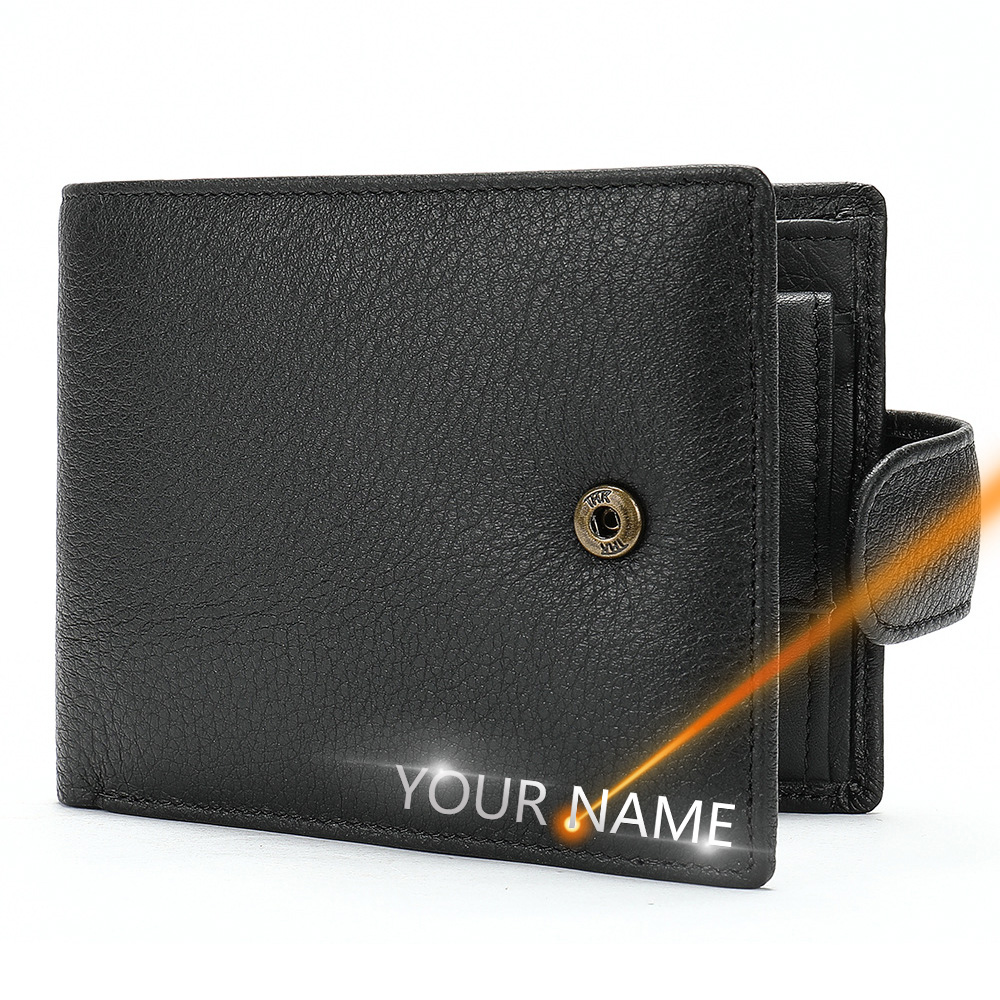 2020 New Men Wallets Leather Name Engraving Hasp Male Purses Long 100% Genuine Leather Vintage High Quality Men Wallet