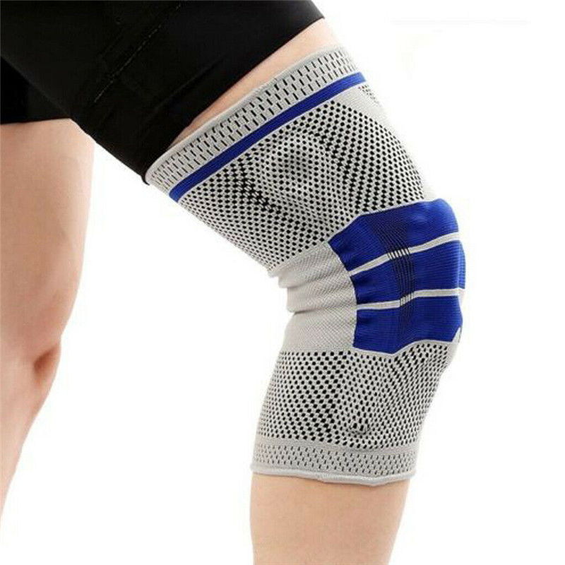 1pc Silicone Spring Knee Brace Sport Support Strong Meniscus Compression Protection For Basketball Volleyball Football Cycling