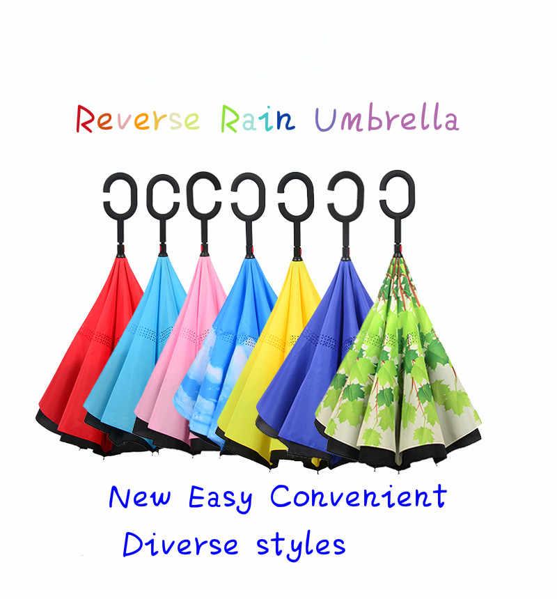 2019New הפוך מטריית גשם נשים שכבה כפולה הפוך מטריית שמשייה Windproof גשם רכב הפוך מטריות לנשים גברים