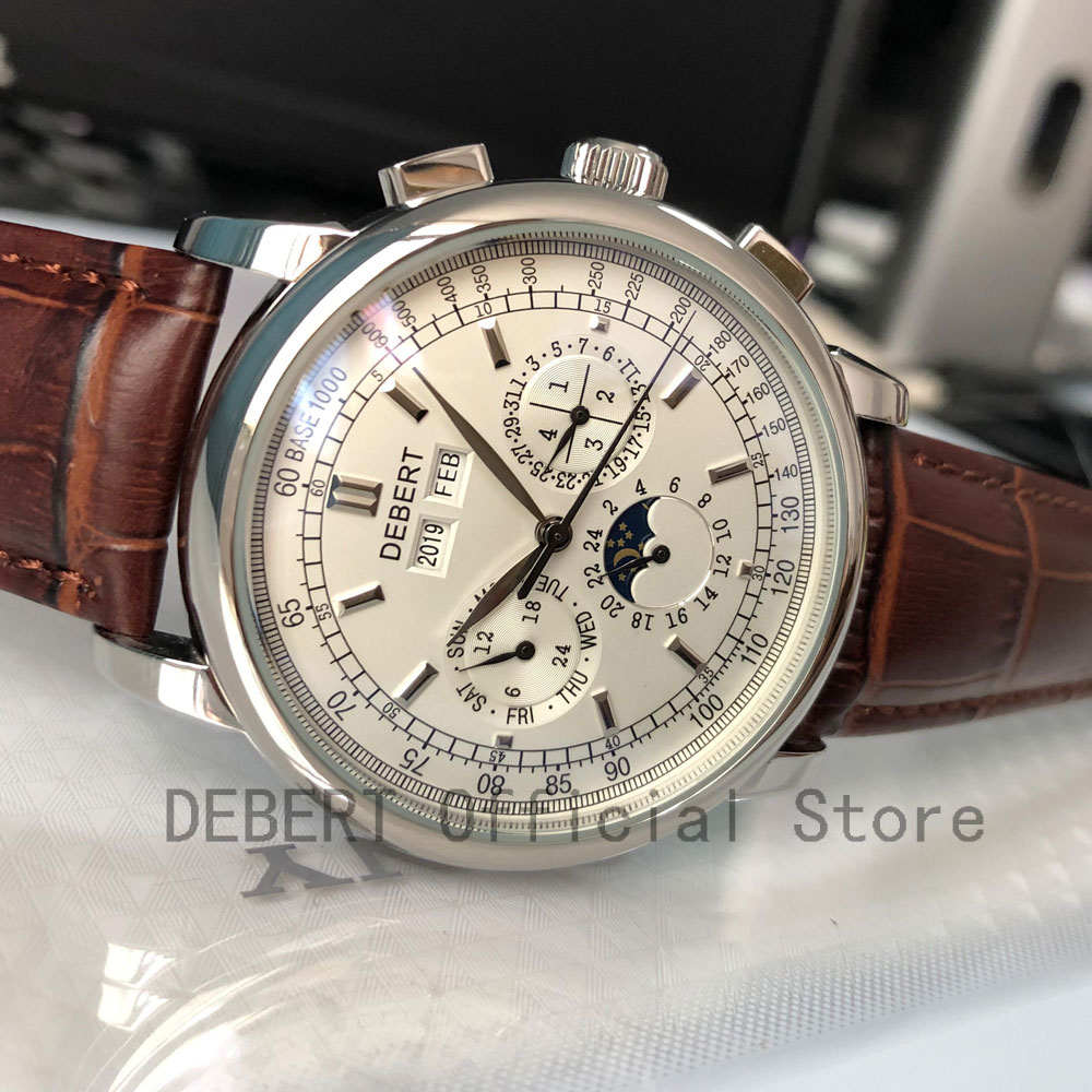 Debert Automatic Watch Case Mechanical-Wristwatches Week White Dial 42mm Moon-Phase SS title=