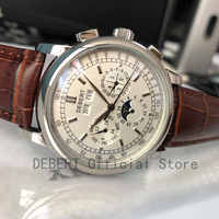 Top Brand 42mm Debert mechanical wristwatches moon Phase White Dial Silver Year Day Month Week 316L SS Case Automatic watch men