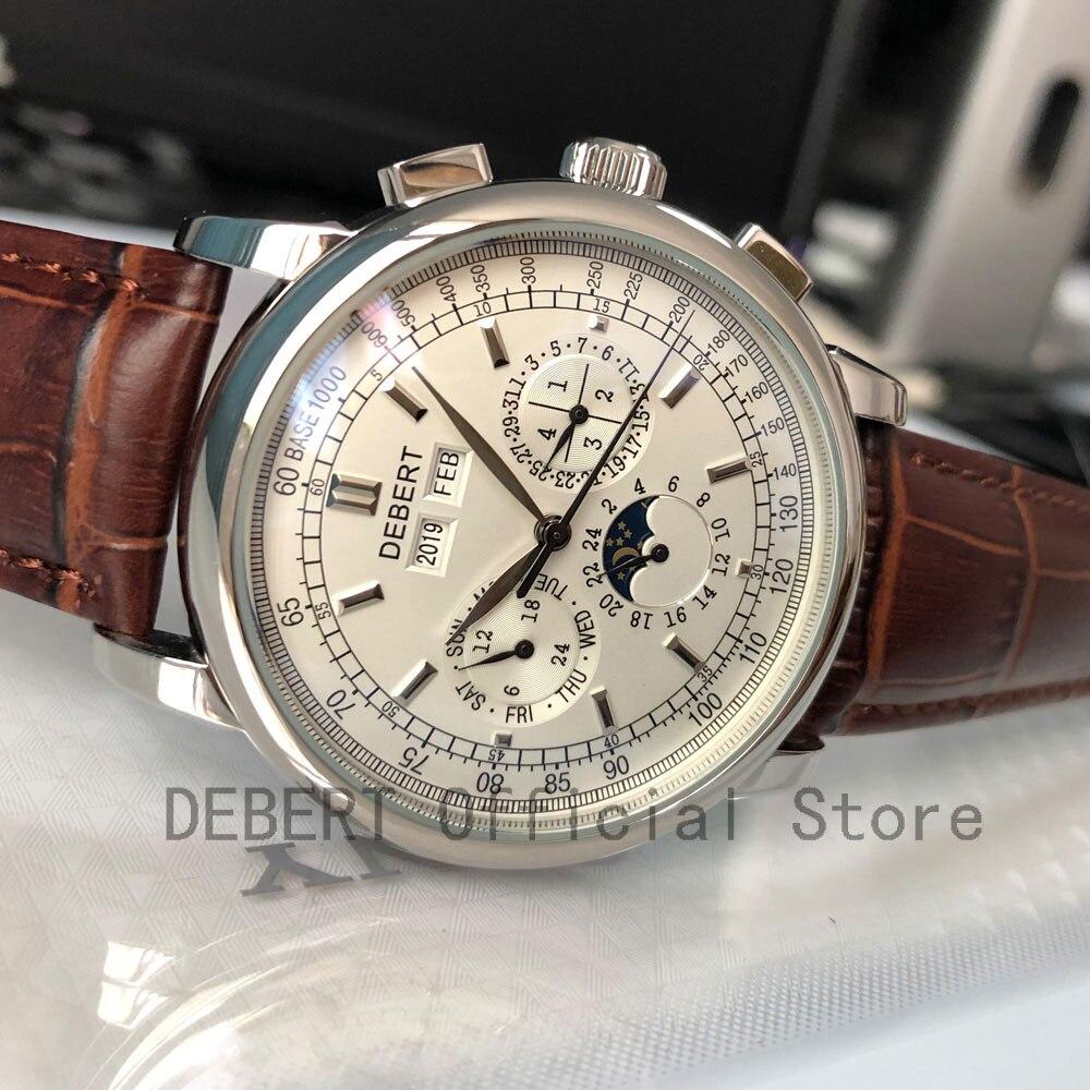 Top Brand42mm Debert montres mécaniques Phase cadran blanc argent année, jour, mois et semaine 316L SS Case montre automatique hommes