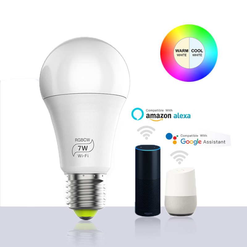 Magic 7W E27 RGB WIFI Led Smart Bulb Light Wireless Smart Home Automation Lamp , 85-265V bulb Compatible with ALexa Goog